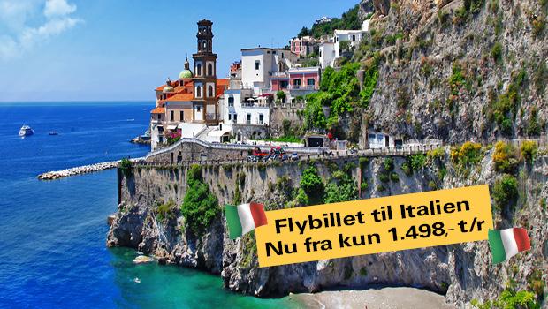 Flybilletter til Italien tur/retur